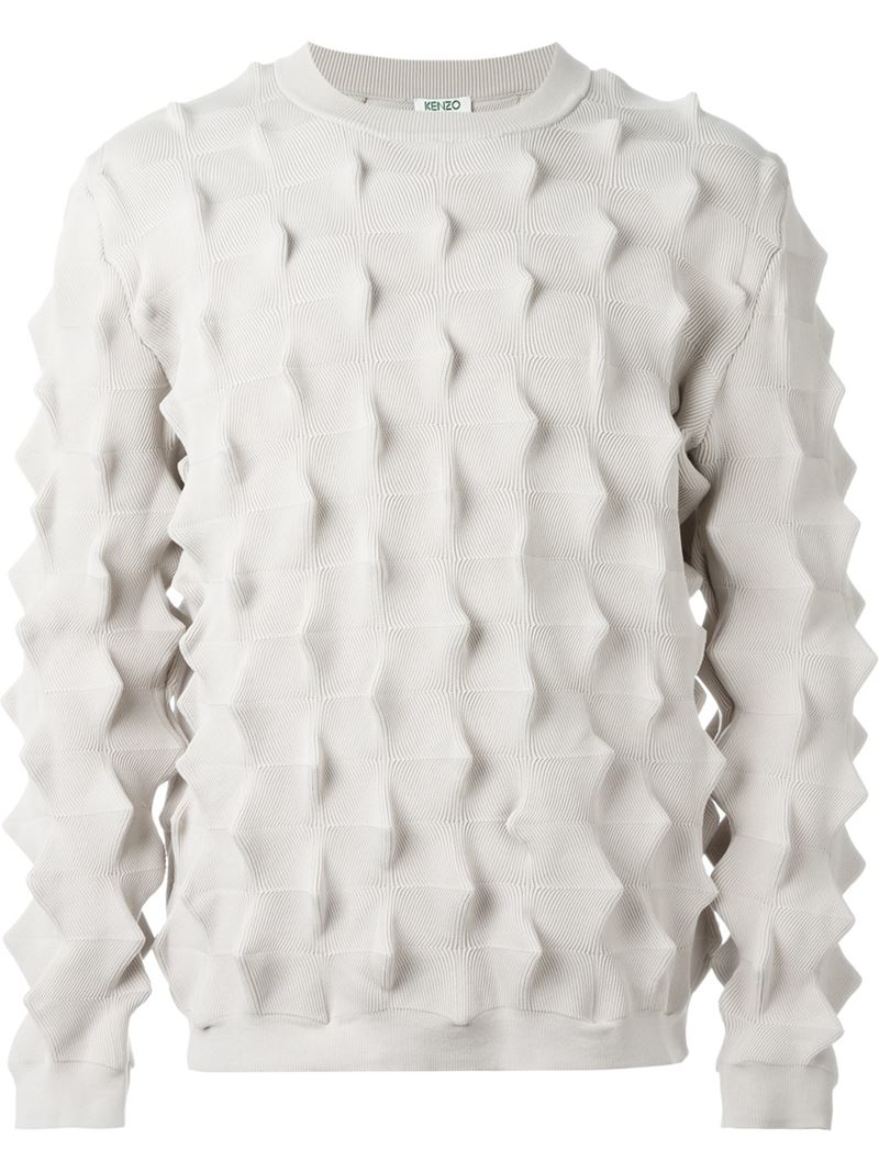 448ed0d25a Lyst - KENZO  cactus  3d Textured Jumper in White for Men