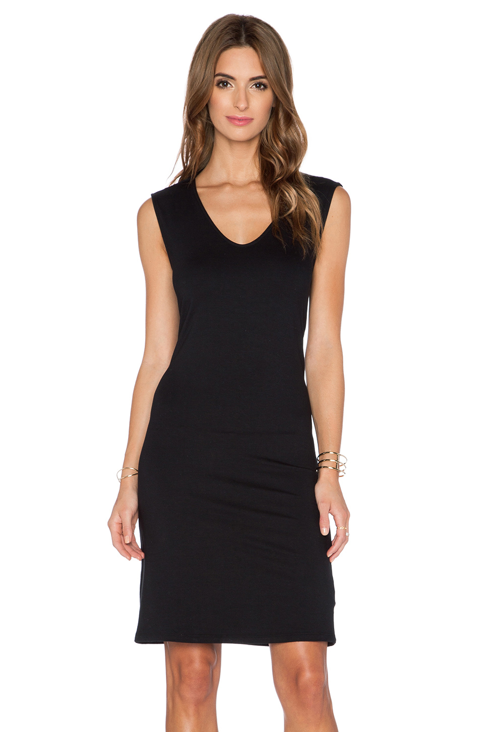 Lyst - Three Dots Draped-Back Jersey Dress in Black