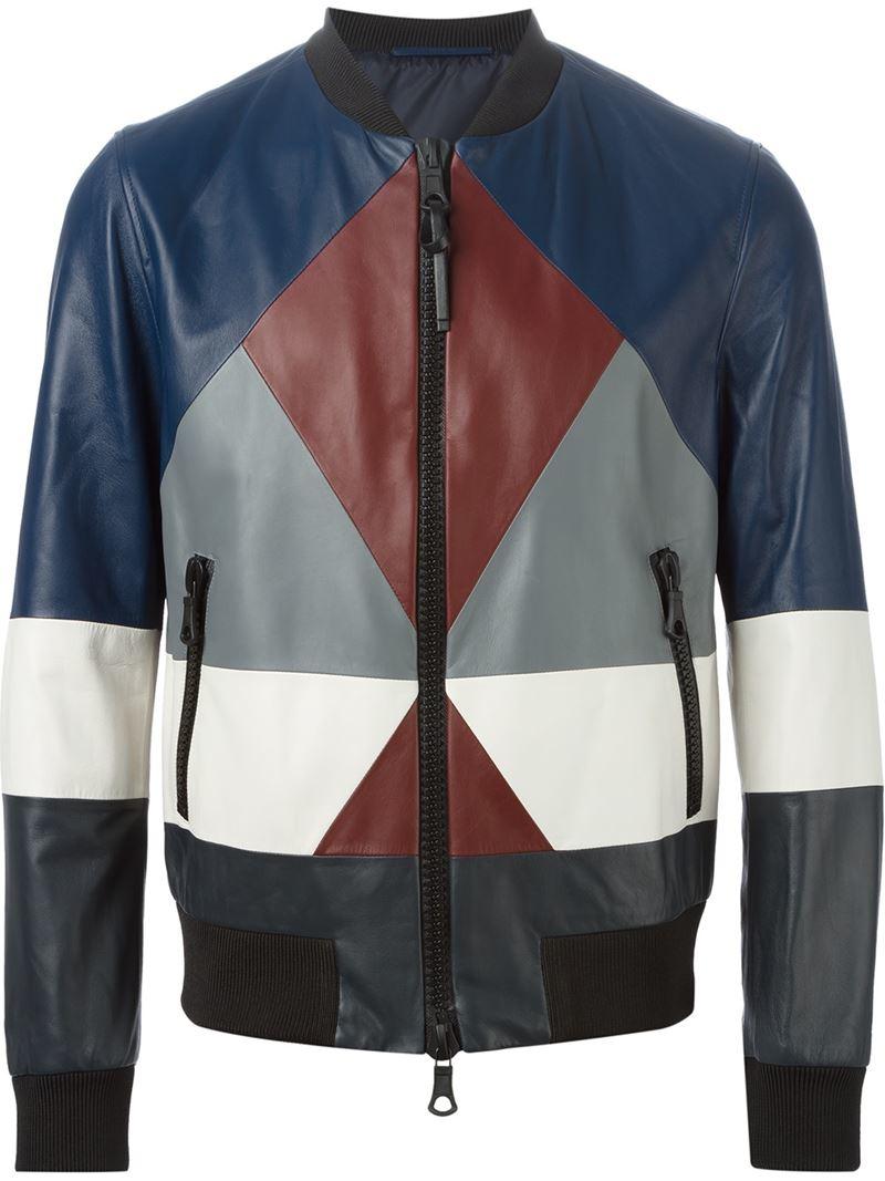 Lyst Valentino Geometric Bomber Jacket In Blue For Men