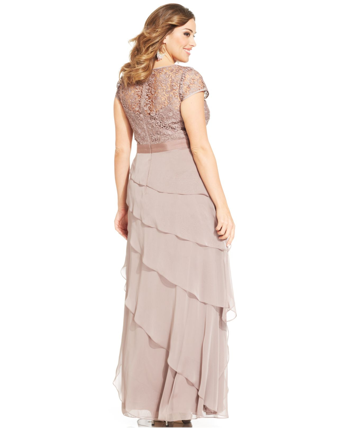Lyst - Adrianna Papell Plus Size Cap-Sleeve Lace Tiered Gown in Pink
