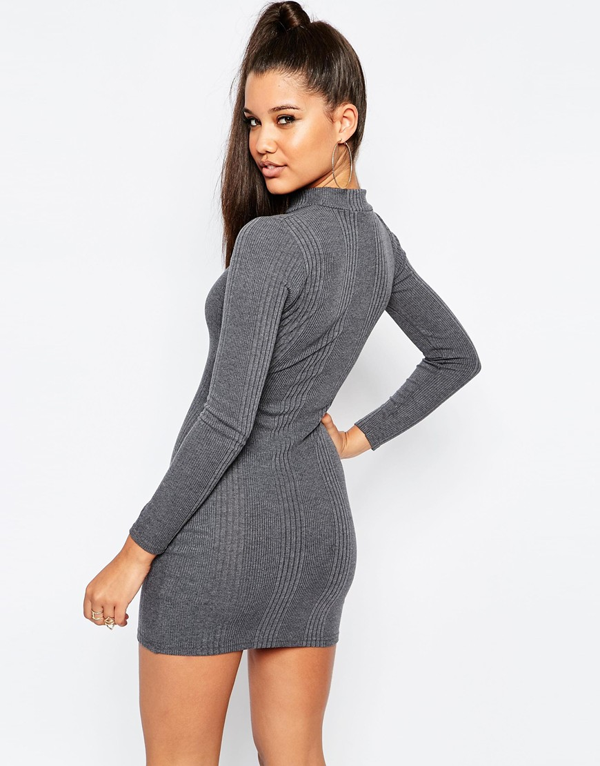 755308dc Missguided High Neck Long Sleeve Rib Bodycon Dress - Grey Marl in ...