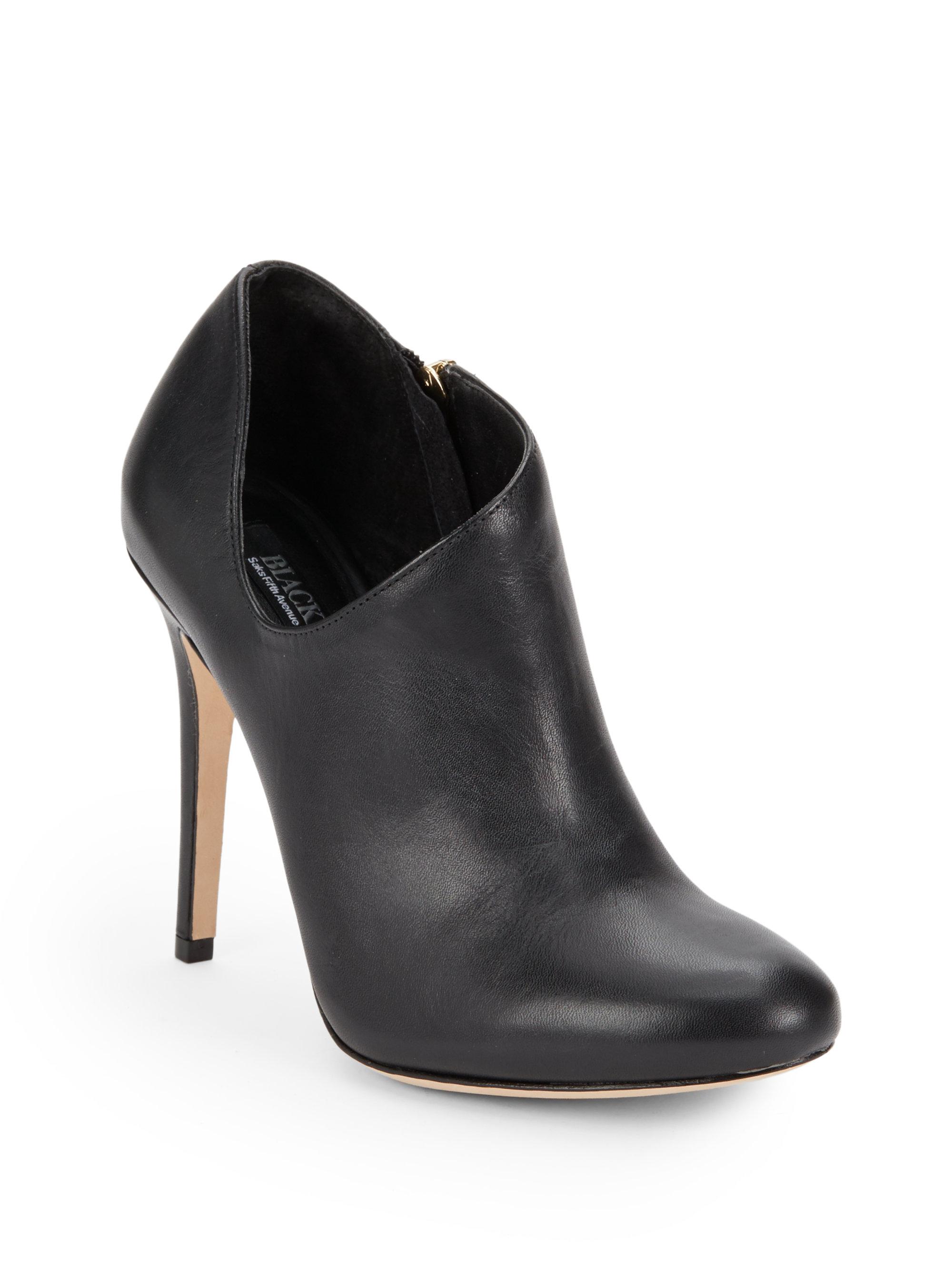 saks fifth avenue black label brinda suede ankle boots in