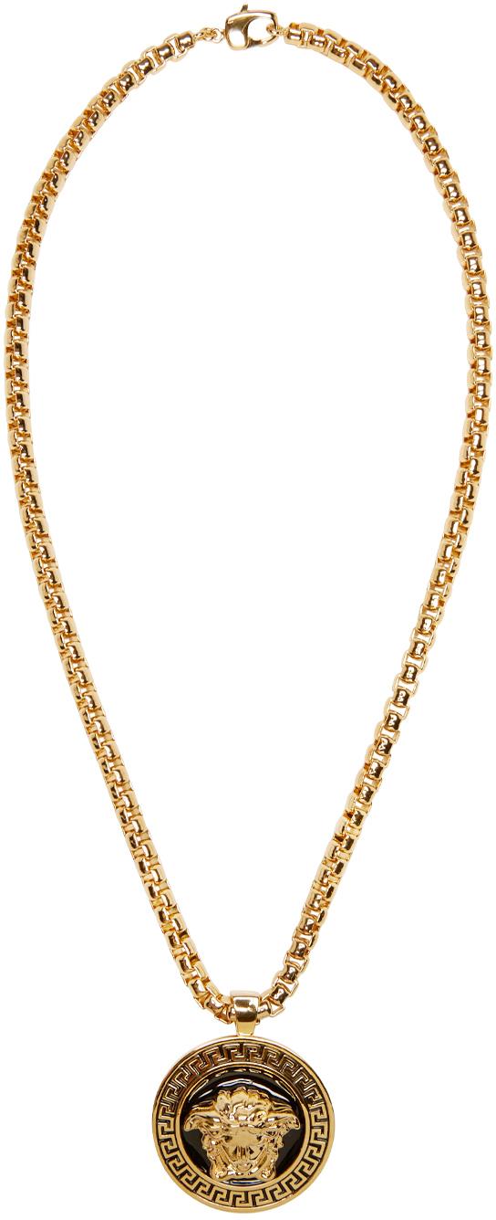 Lyst Versace Gold Amp Black Medusa Chain Necklace In Metallic