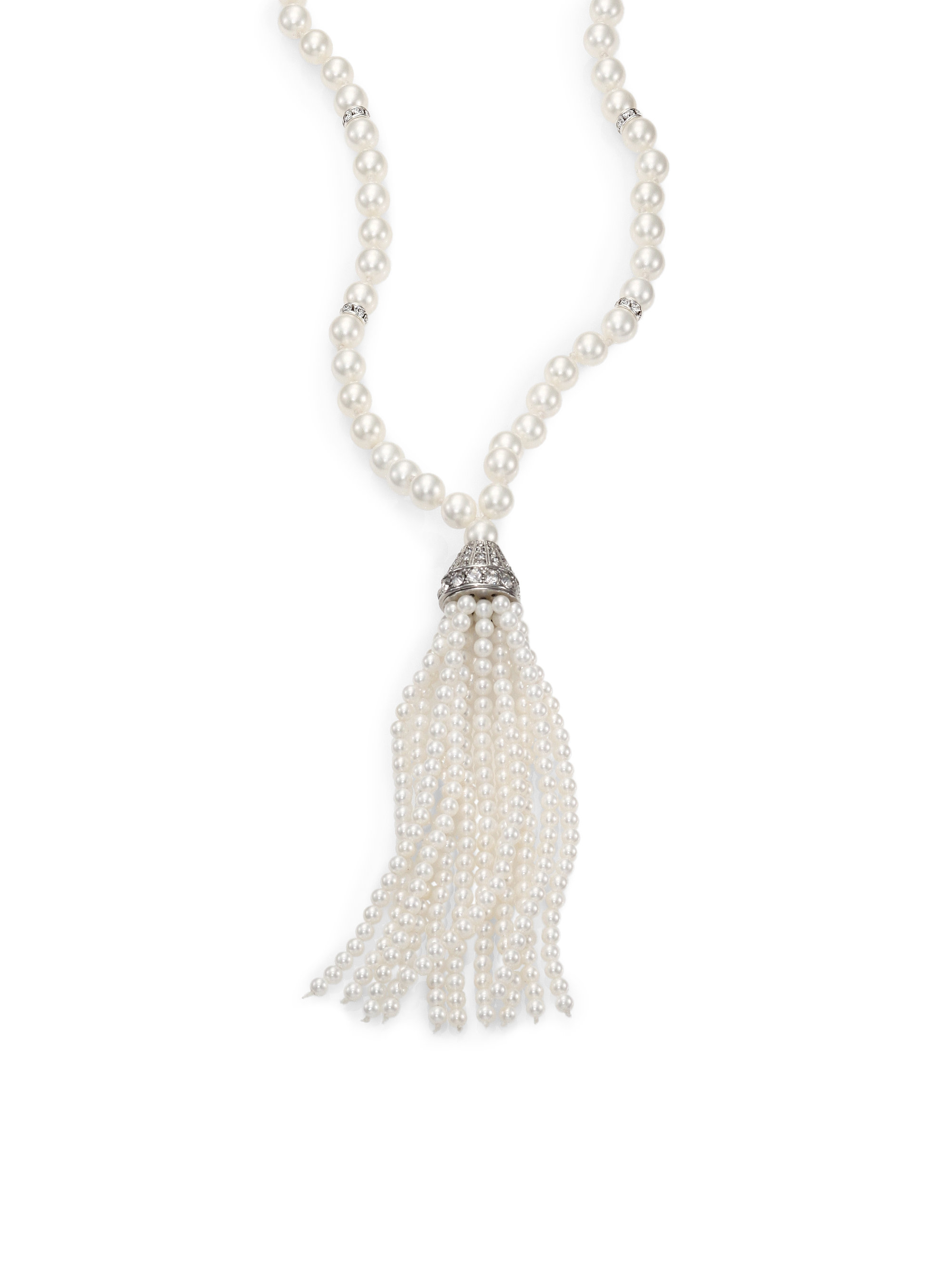 Top Lyst - Kenneth Jay Lane 5Mm-8Mm White Shell Pearl Long Tassel  VD88