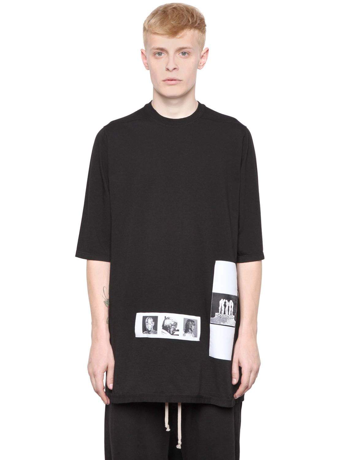 rick owens drkshdw oversized patch cotton t shirt in black