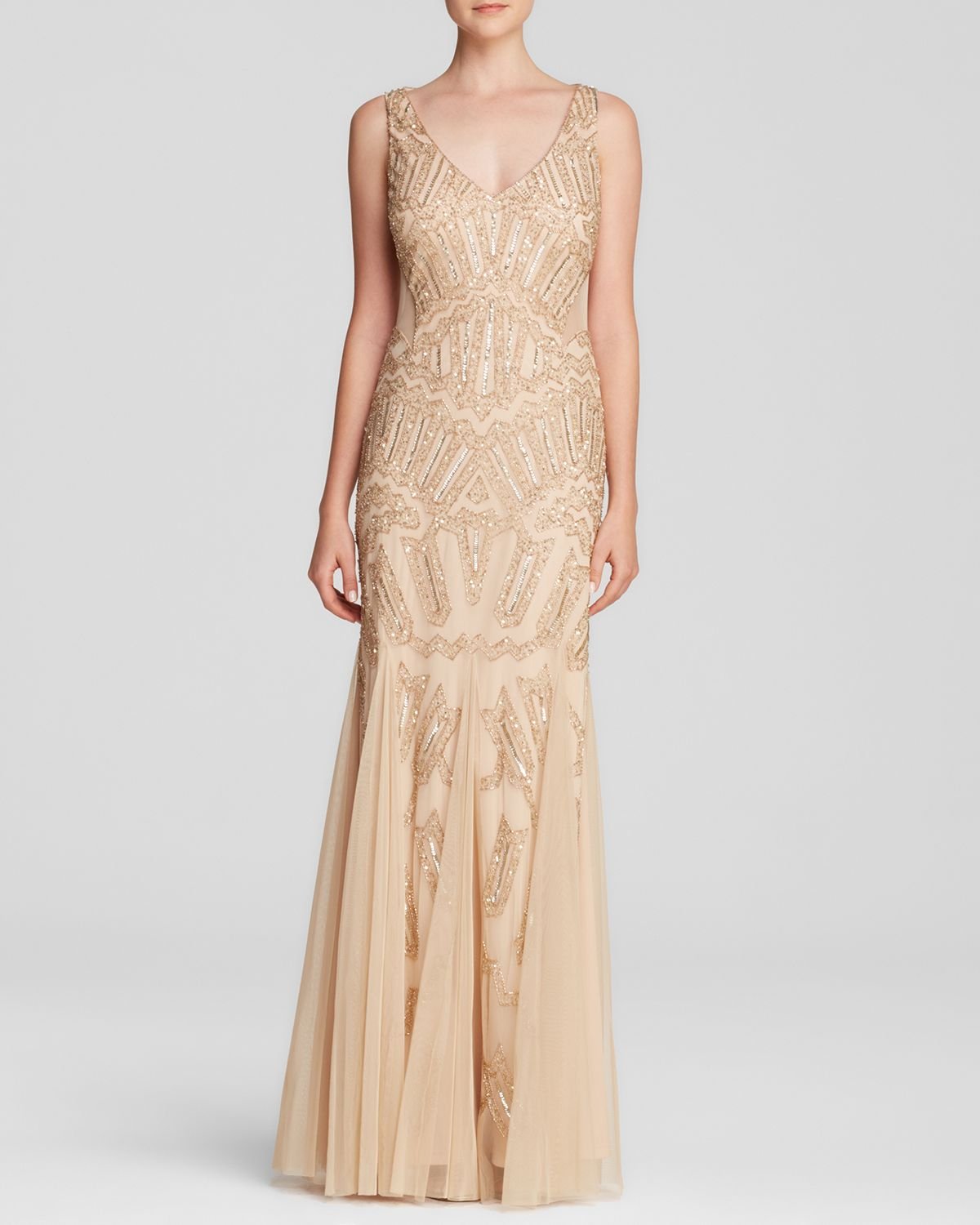 papell gown v neck beaded illusion panel