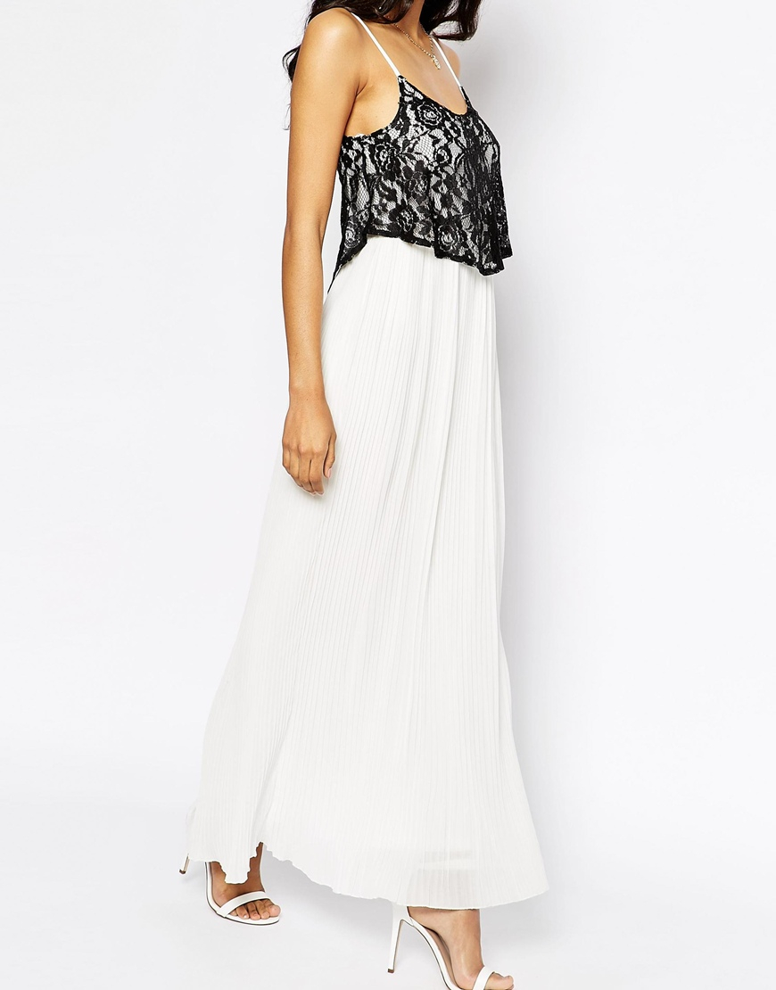 9974e46b761 Lyst - Club L Pleated Maxi Dress With Lace Overlay in White