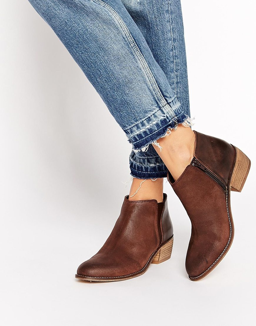 7b02f279498 Dune Penelope Brown Leather Flat Ankle Boots