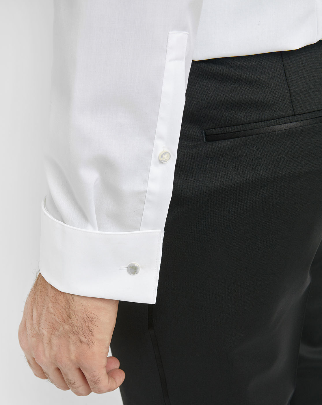 Hugo White Wing Collar French Cuffs Dickey Shirt In White