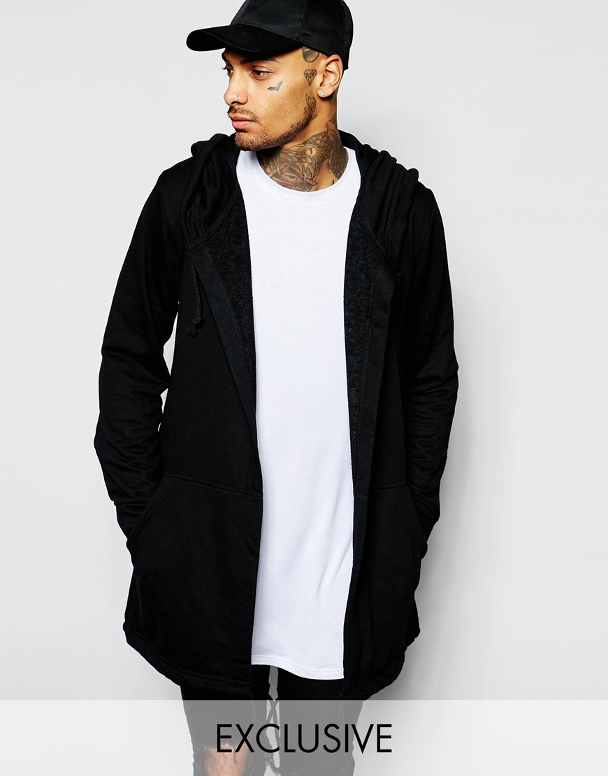 Underated Longline Hooded Cardigan in Black for Men | Lyst