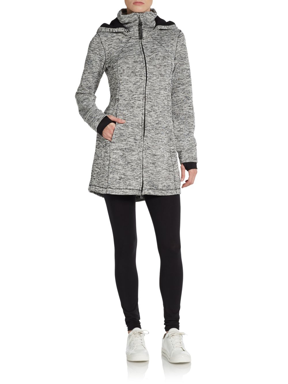 lyst calvin klein marled hooded performance jacket in gray