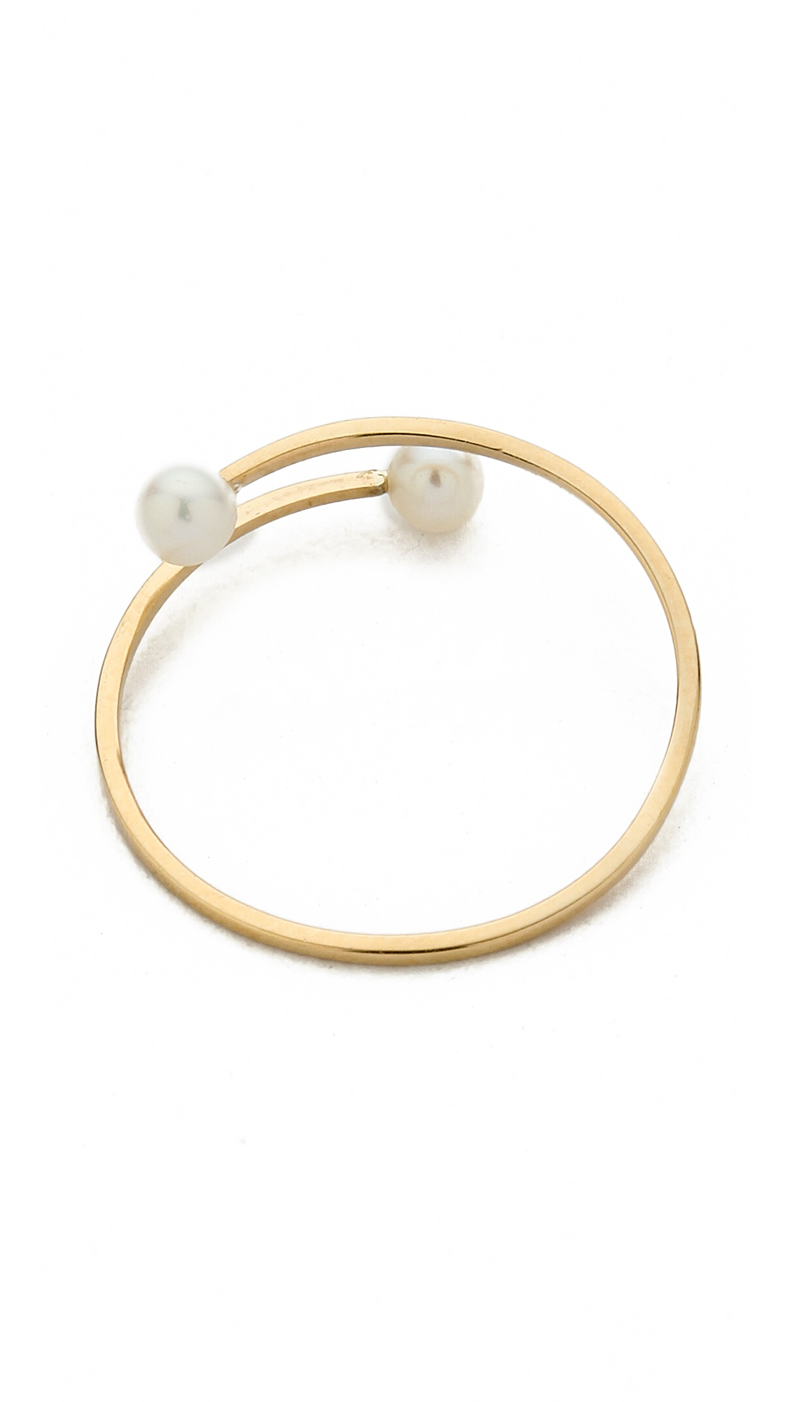 Kristen Elspeth Cultured Freshwater Pearl Ring - Pearl/Gold in Metallic