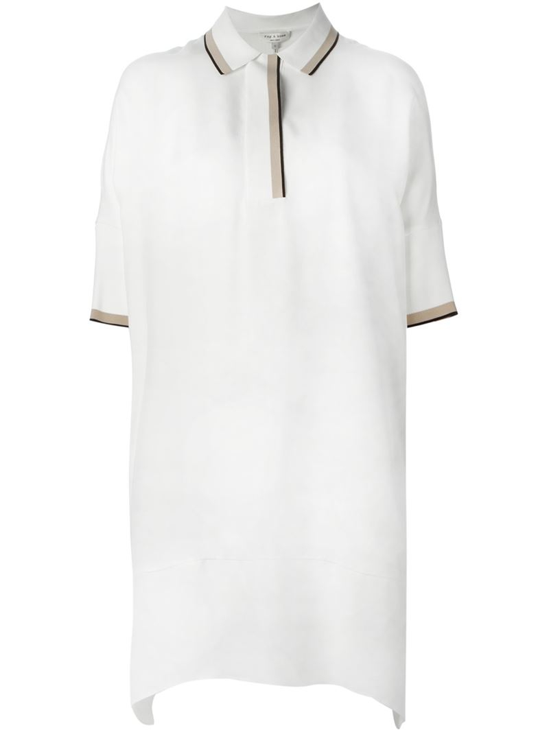 Lyst Rag Bone Loose Fit Polo Shirt Dress In Natural