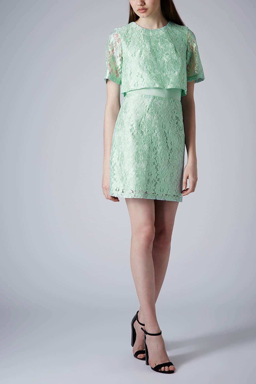 Petite green lace dress