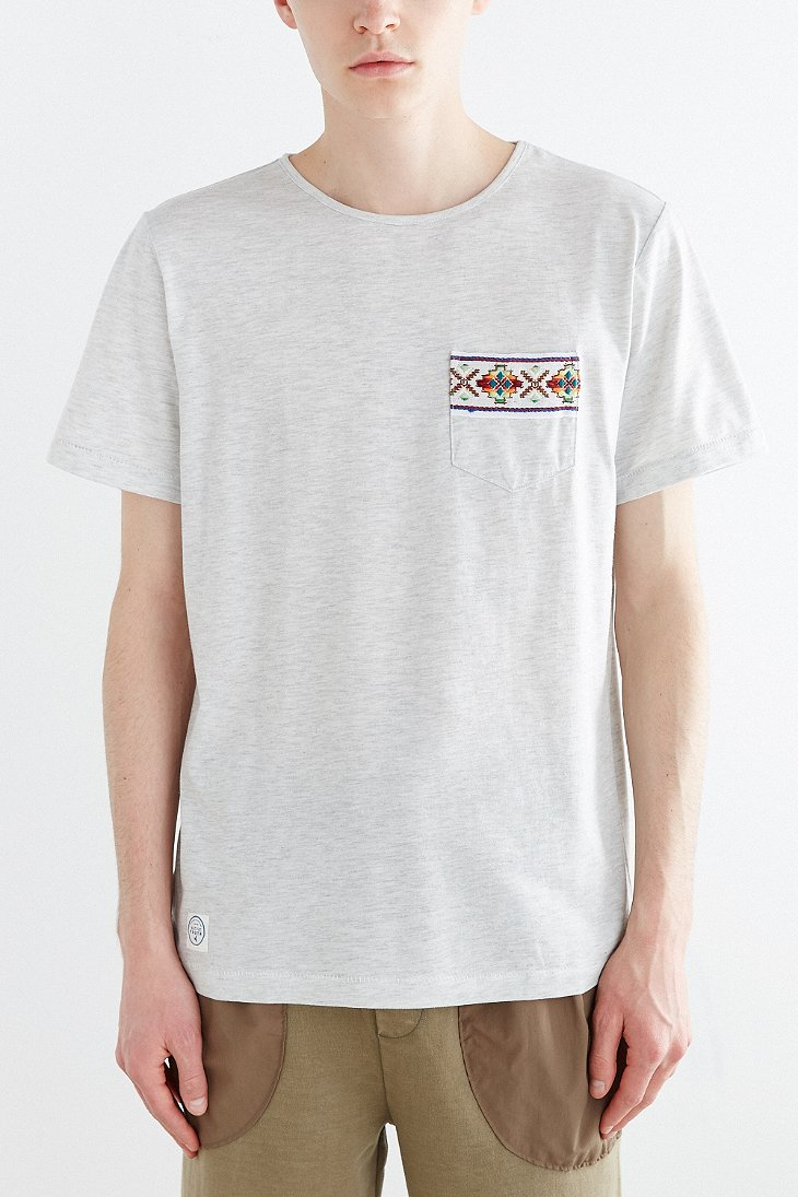 aa7ff526e0a Lyst - Native Youth Jacquard Tape Crew Neck Pocket Tee in Gray for Men