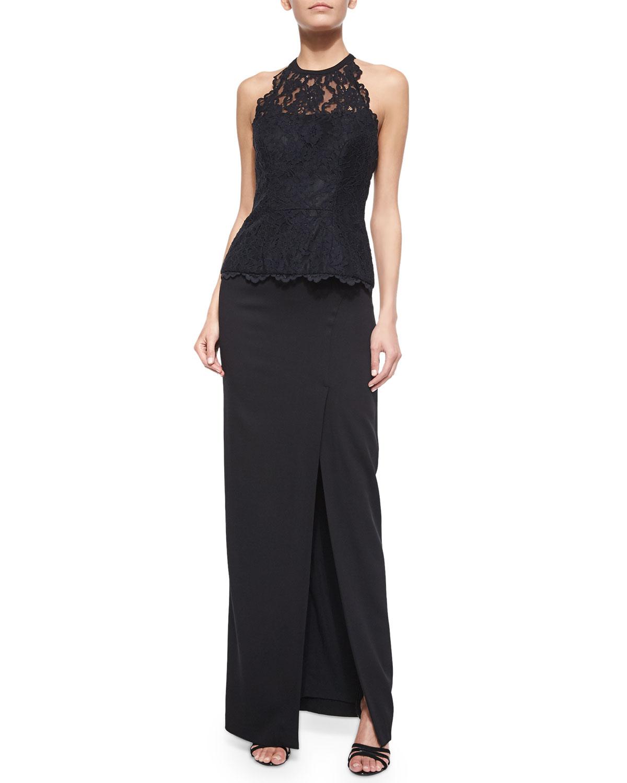 miller stretch crepe front slit maxi skirt in black
