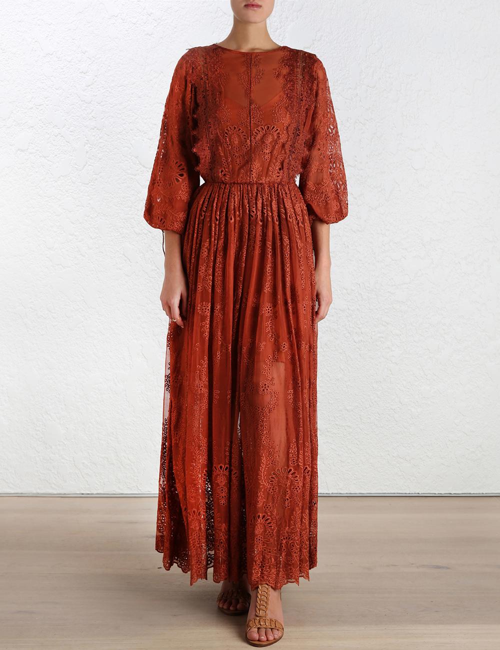 f43a1318c5b4 Zimmermann Alchemy Embroidery Long Dress in Orange - Lyst