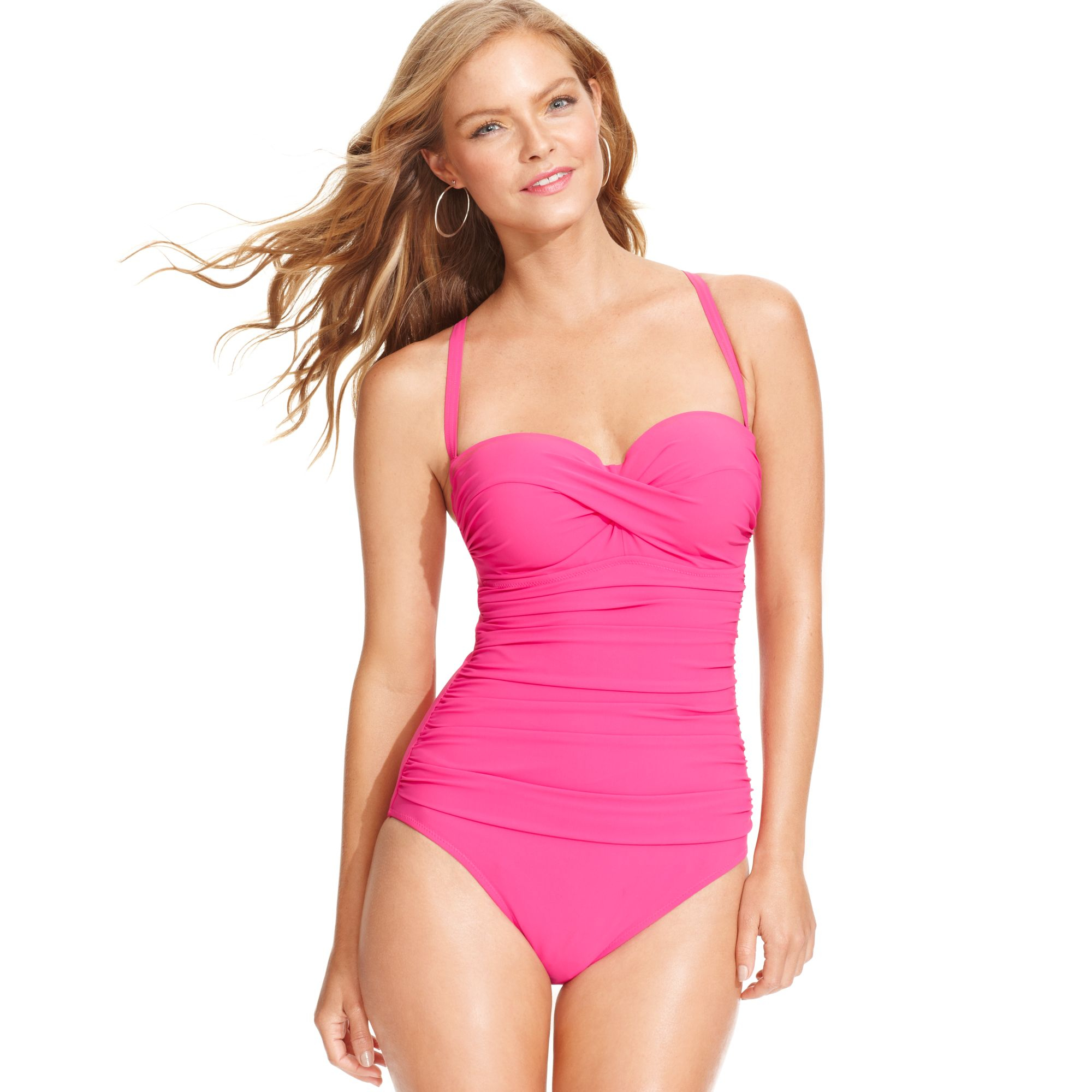 Gottex Bandeau Dcup One Piece Swimsuit In Pink Lyst