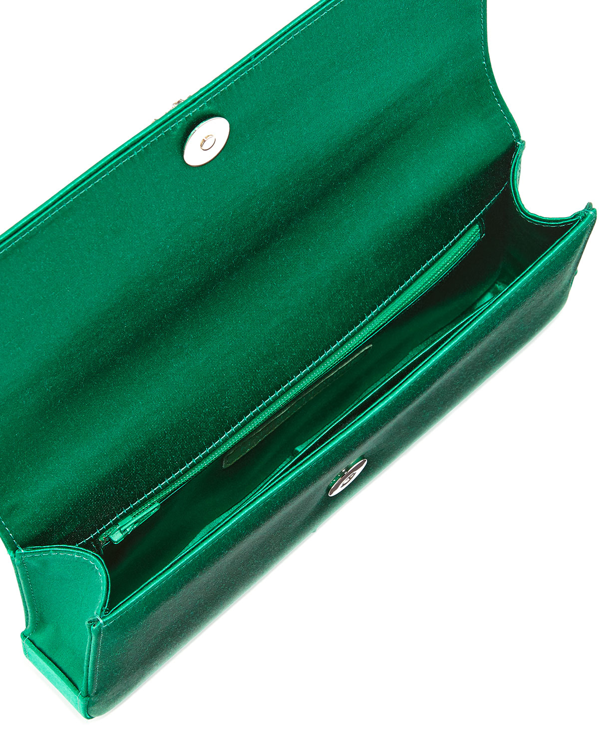 b4c04c98ba634 Manolo Blahnik Gothisi Crystal-Buckle Satin Clutch Bag in Green - Lyst