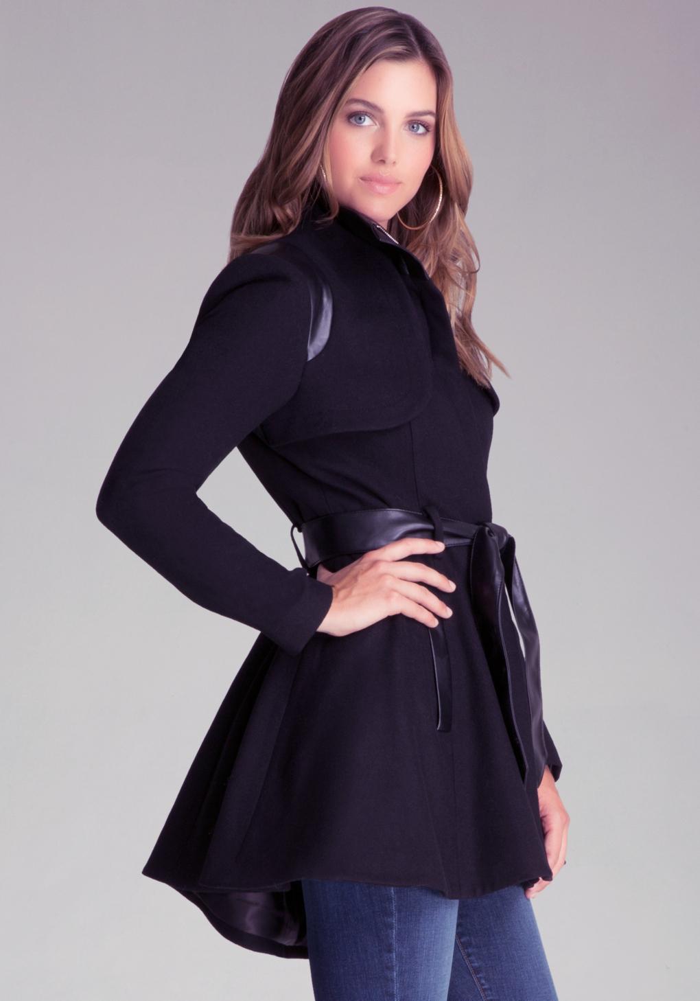 Bebe Katy Wool Swing Coat In Black Lyst