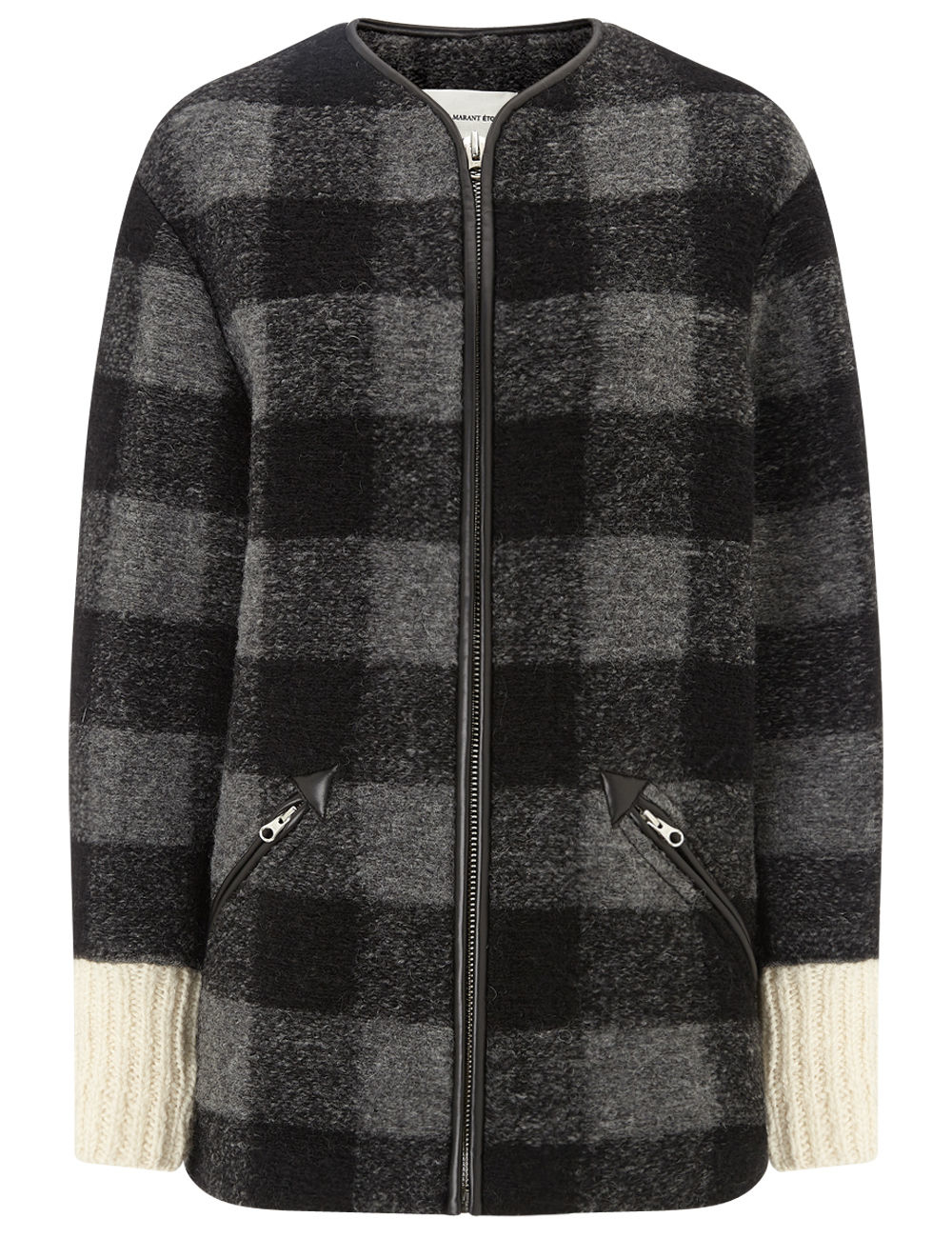 toile isabel marant grey plaid wool gelicia jacket in. Black Bedroom Furniture Sets. Home Design Ideas
