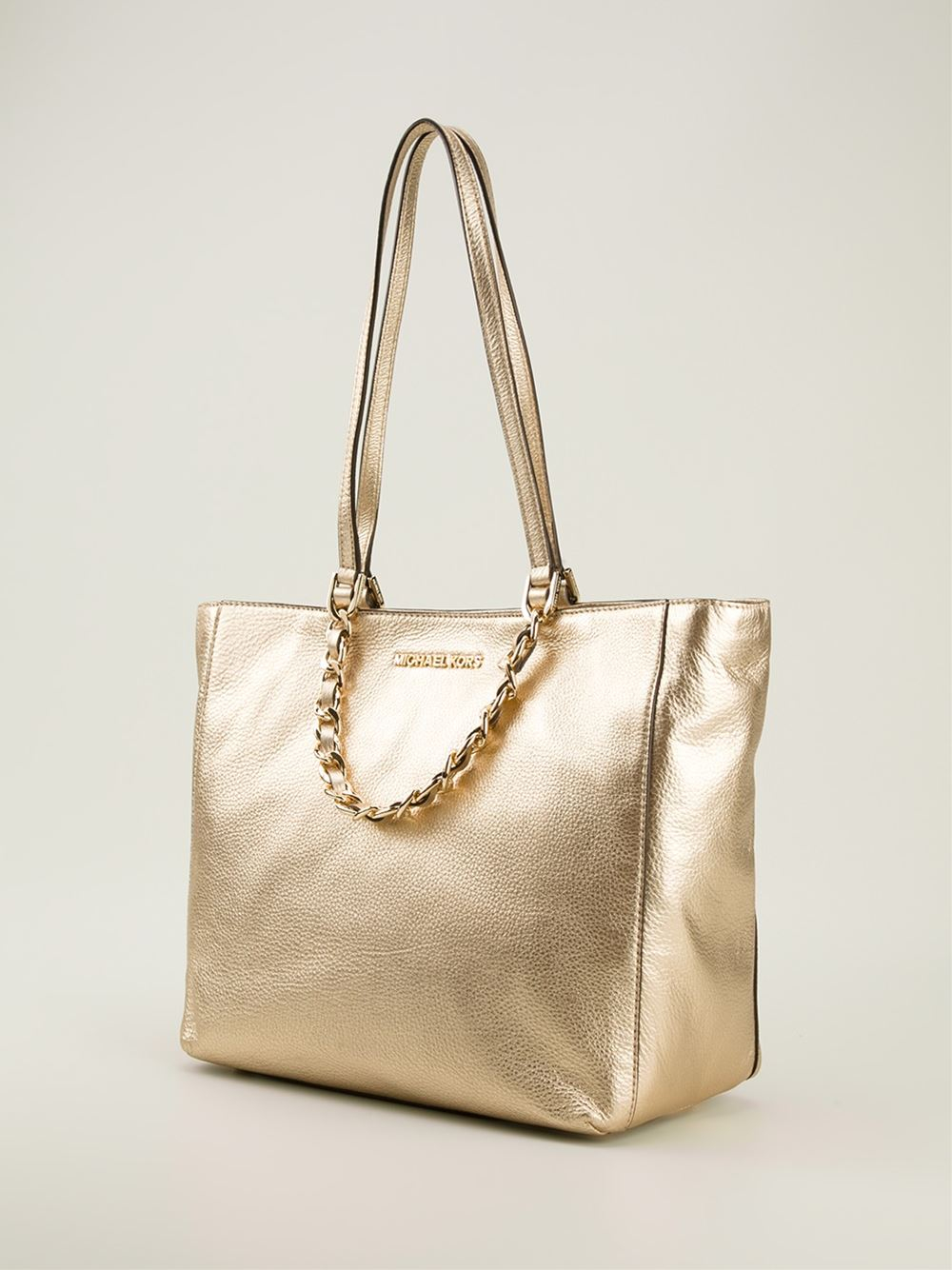 michael michael kors 39 harper 39 shopper tote in metallic lyst