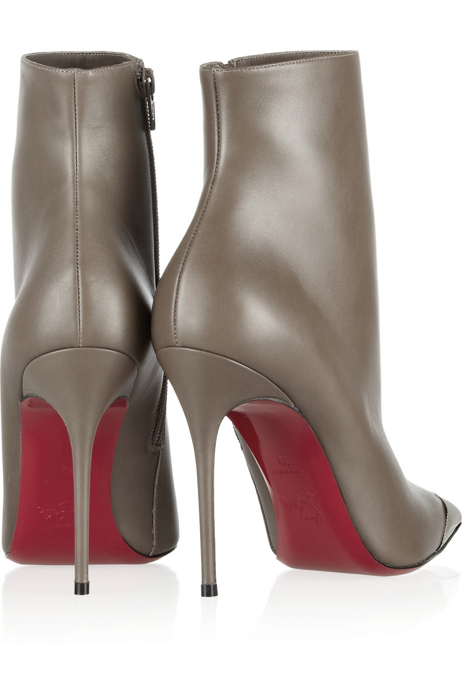 shoes replica usa - christian louboutin ankle booties Black leather silver-tone cap ...