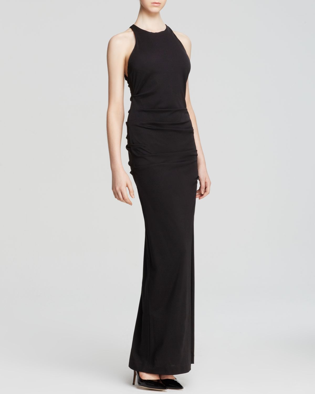 Lyst - Nicole Miller Gown - High Neck Open Cross Back Jersey in Black