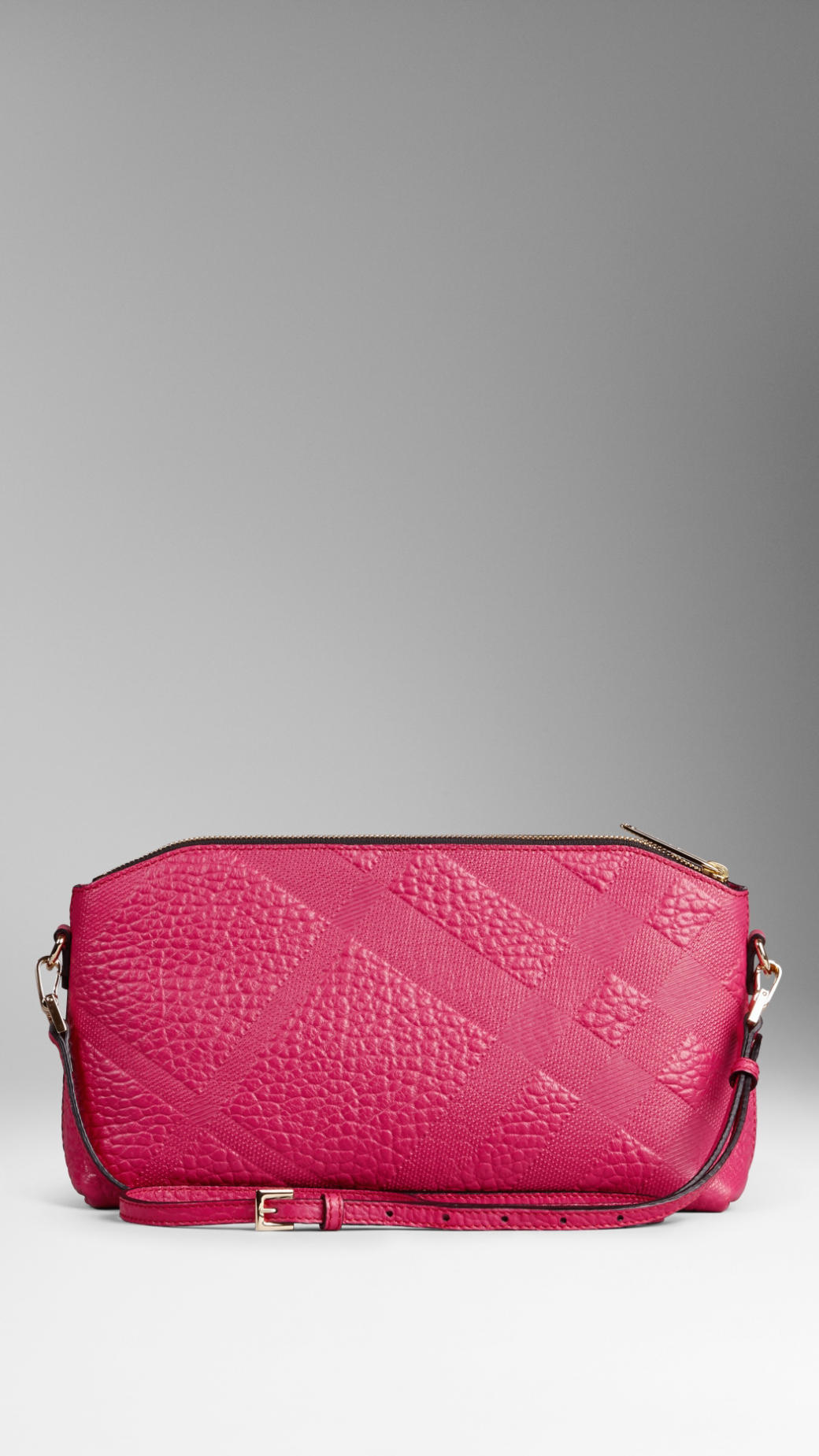 184ec65c3600 Lyst - Burberry Small Embossed Check Leather Clutch Bag in Pink