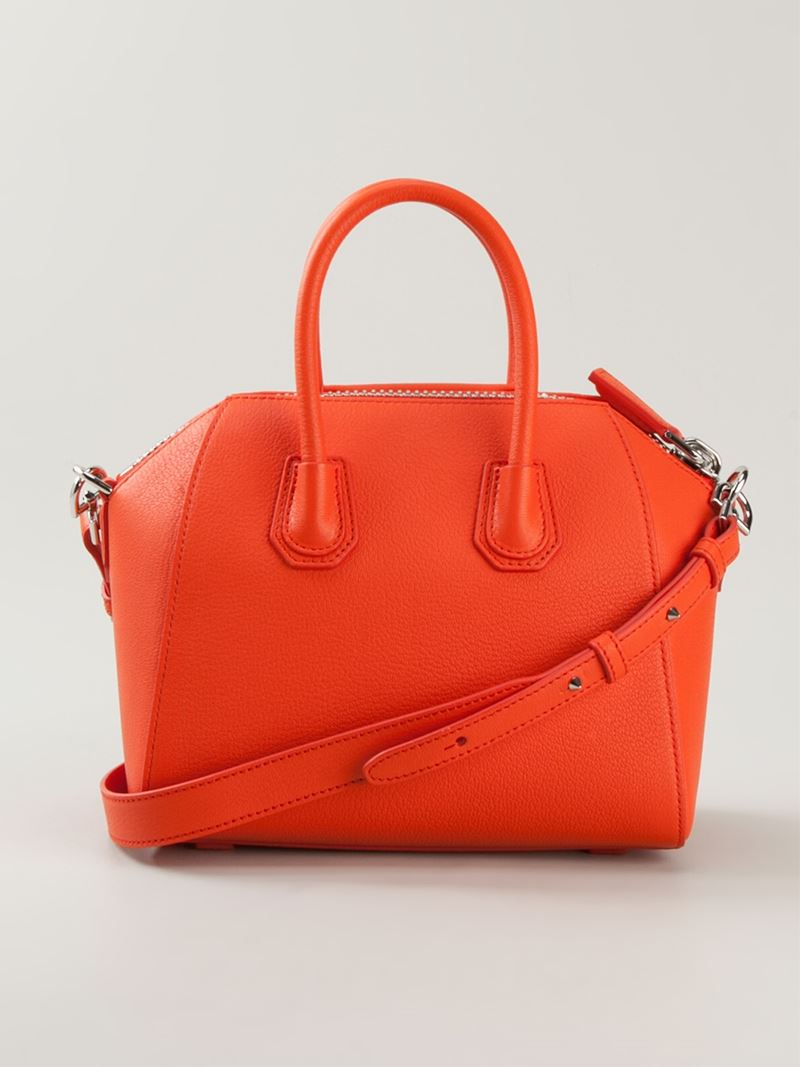 Givenchy Mini 'Antigona' Crossbody Bag in Yellow & Orange (Orange)