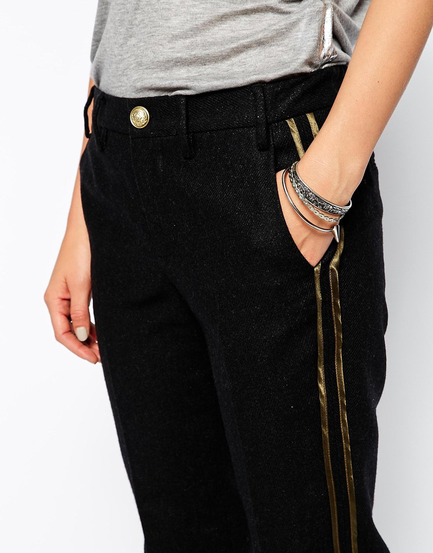 Zadig Amp Voltaire Trousers In Wool With Military Satin