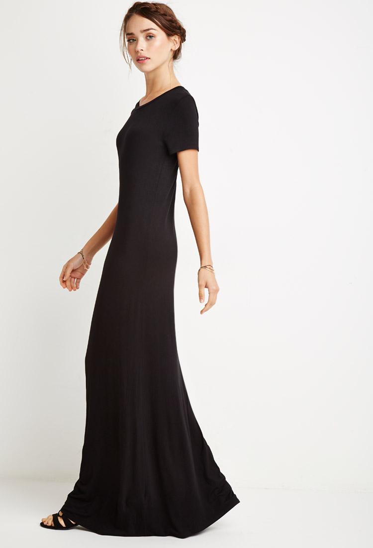 c091b3d9df55 Forever 21 Maxi T-shirt Dress in Black - Lyst
