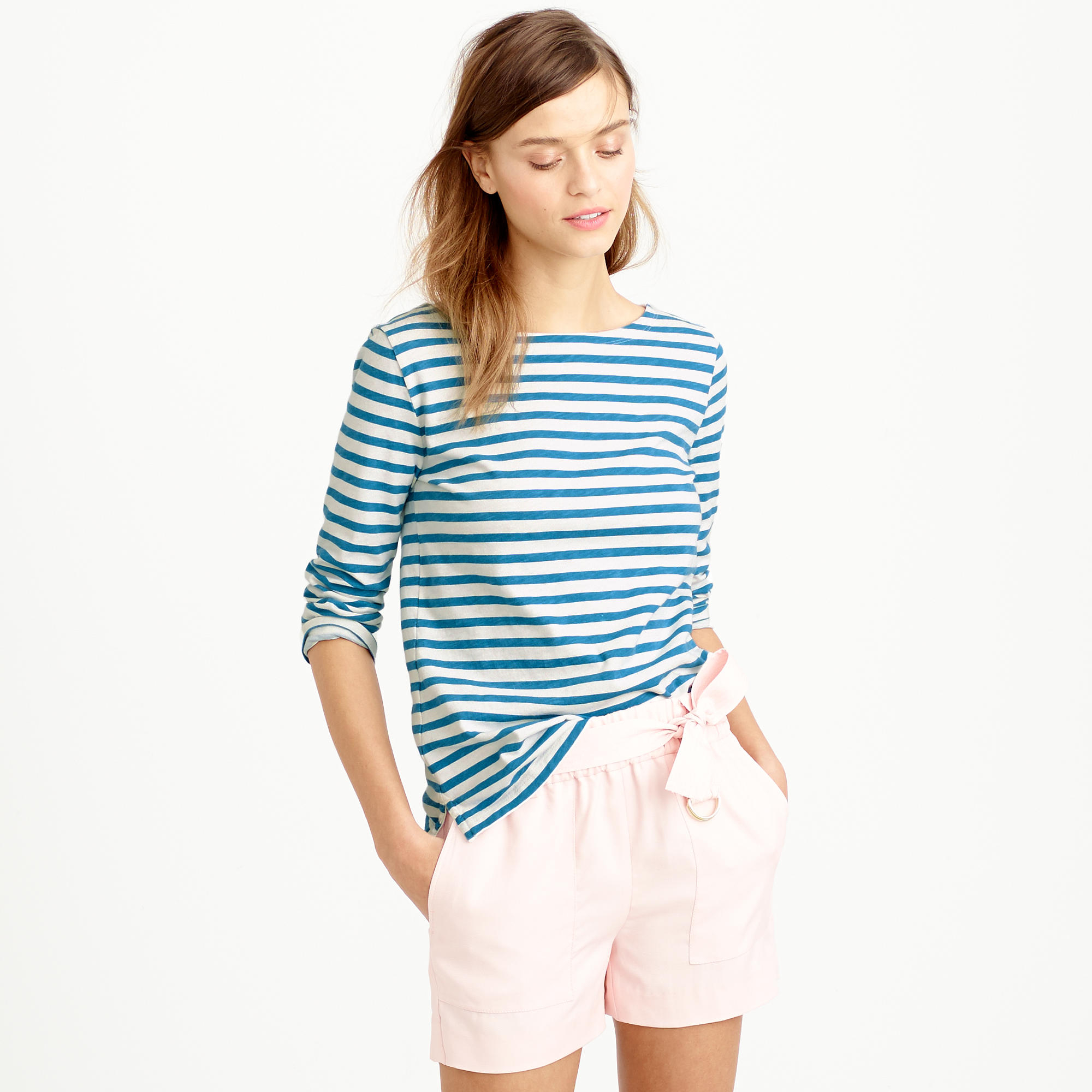 striped boatneck t shirt in blue ivory chatham bay