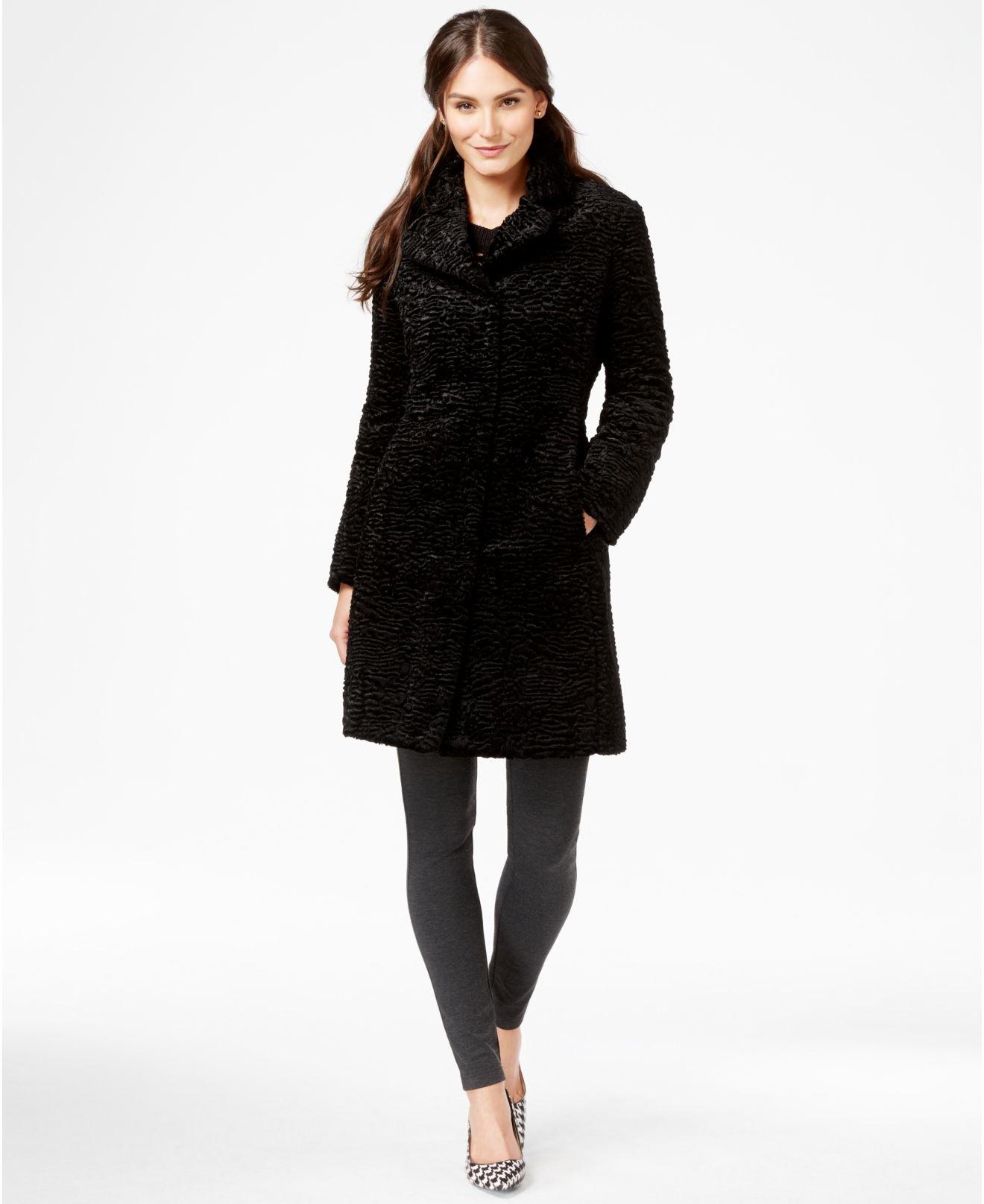 Jones new york Textured Fauxfur Walker Coat in Black Lyst