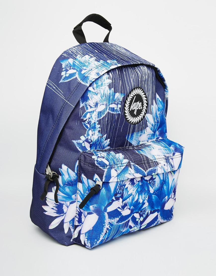 Lyst - Hype Backpack In Navy Digital Floral Print In Blue
