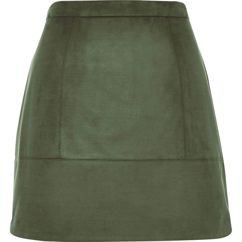 river island khaki faux suede a line skirt in khaki lyst