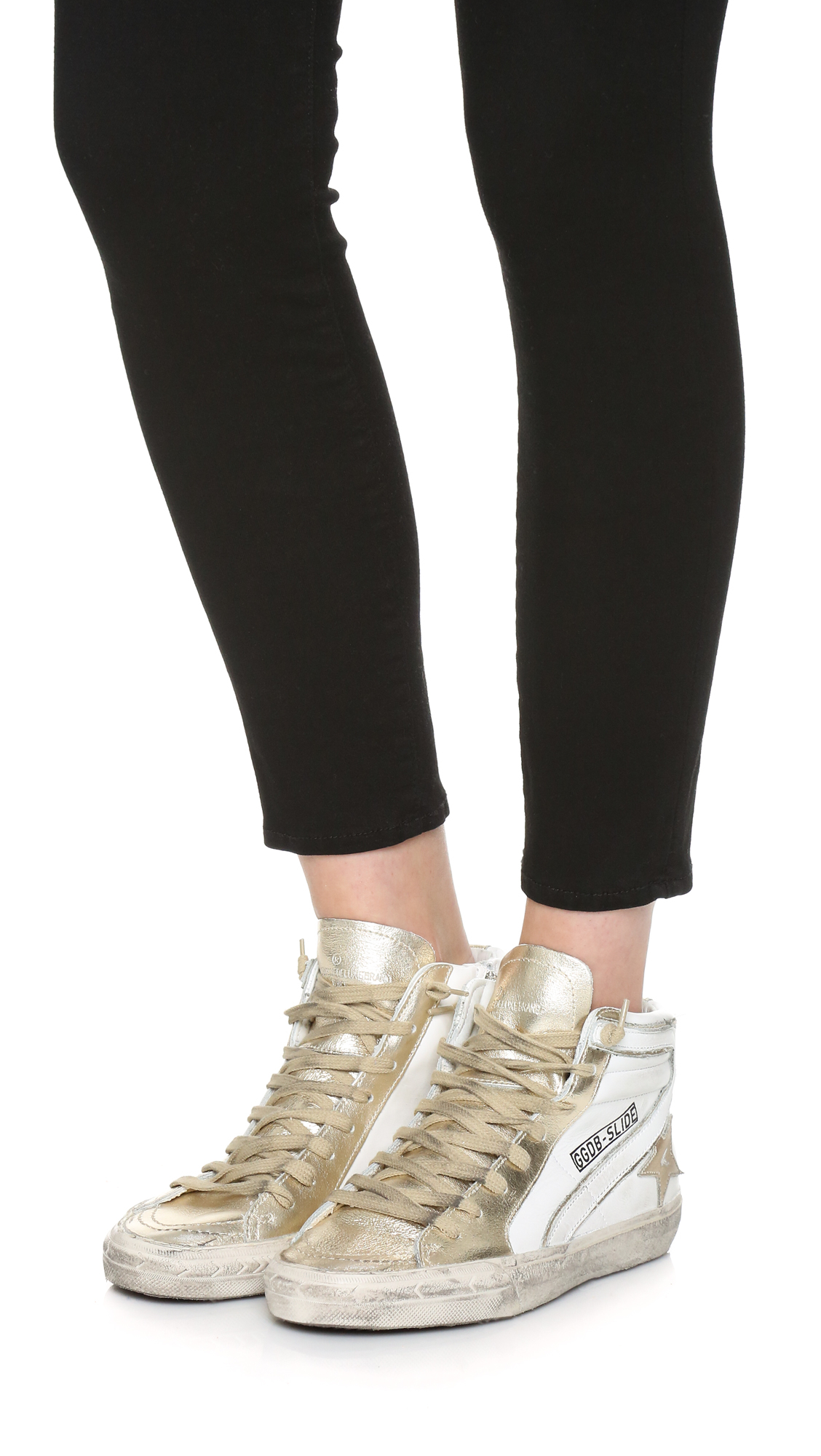 White Shoes Gold Zip
