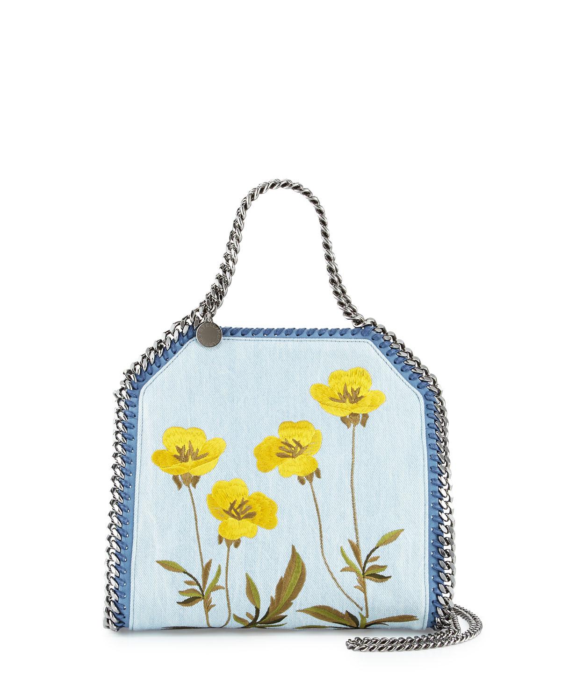 006b7cf02b Lyst - Stella mccartney Falabella Denim Botanical Mini Tote in Blue