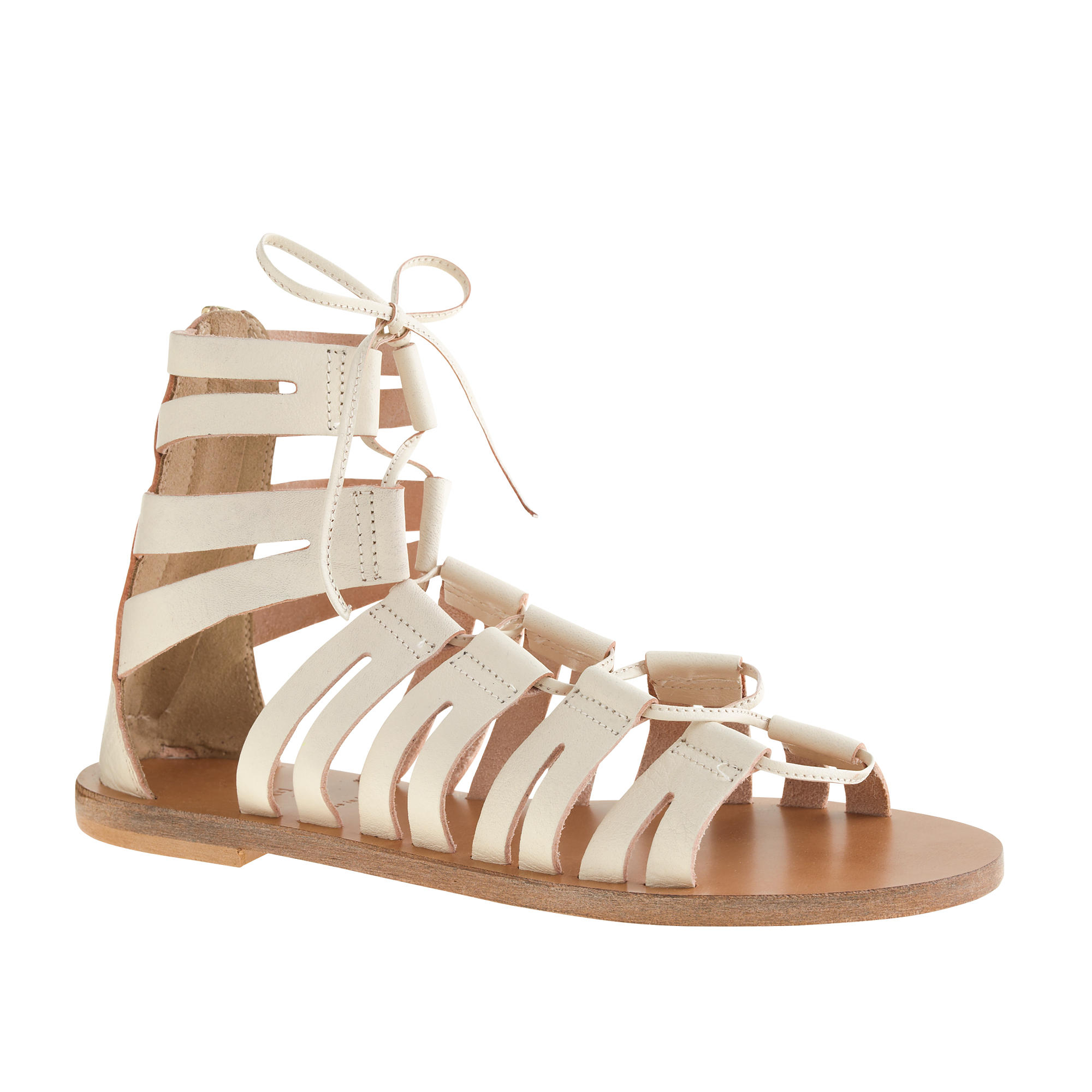 J Crew Lace Up Gladiator Sandals In Metallic Lyst