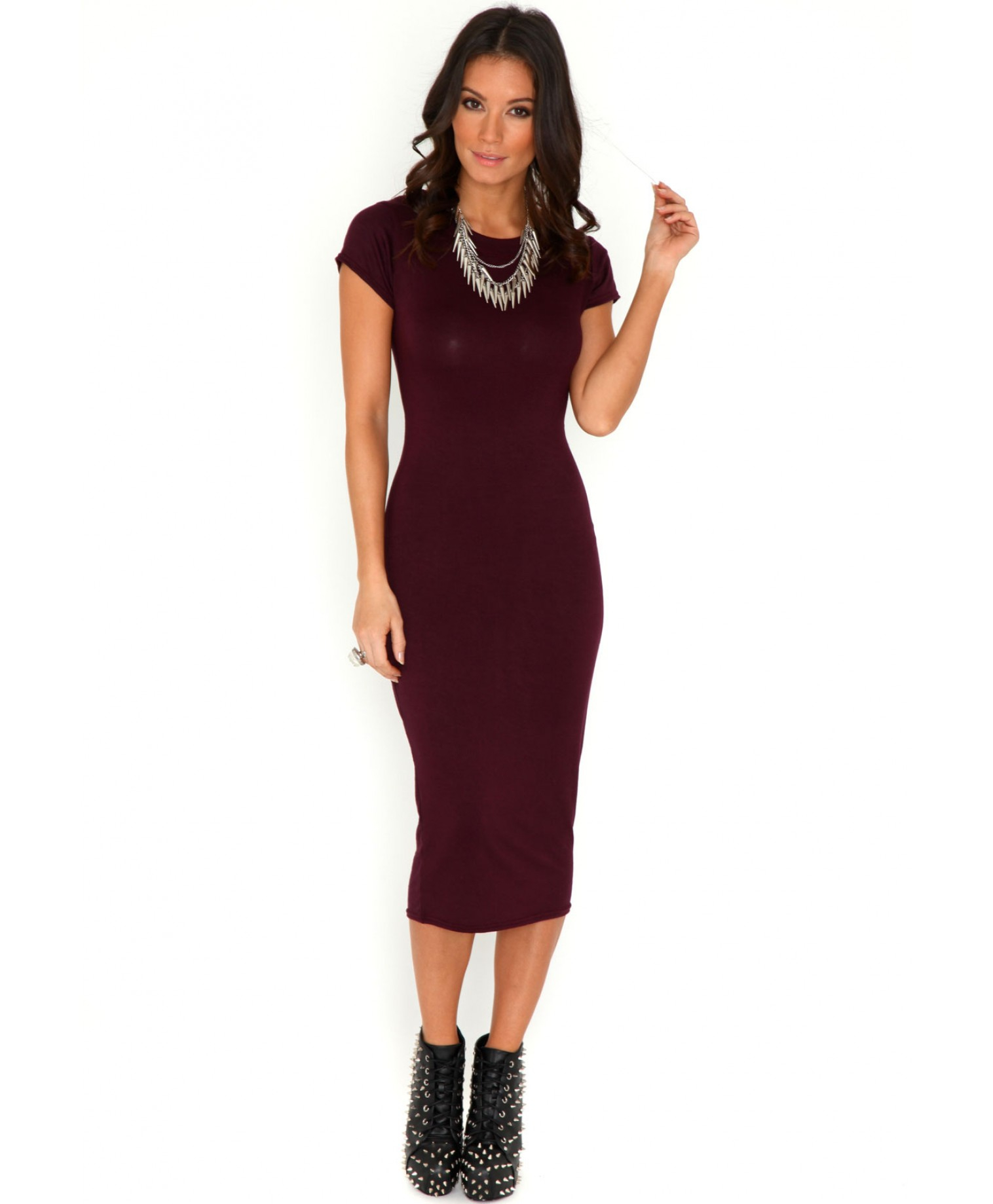 Missguided cailey bodycon midi dress in burgundy in purple lyst