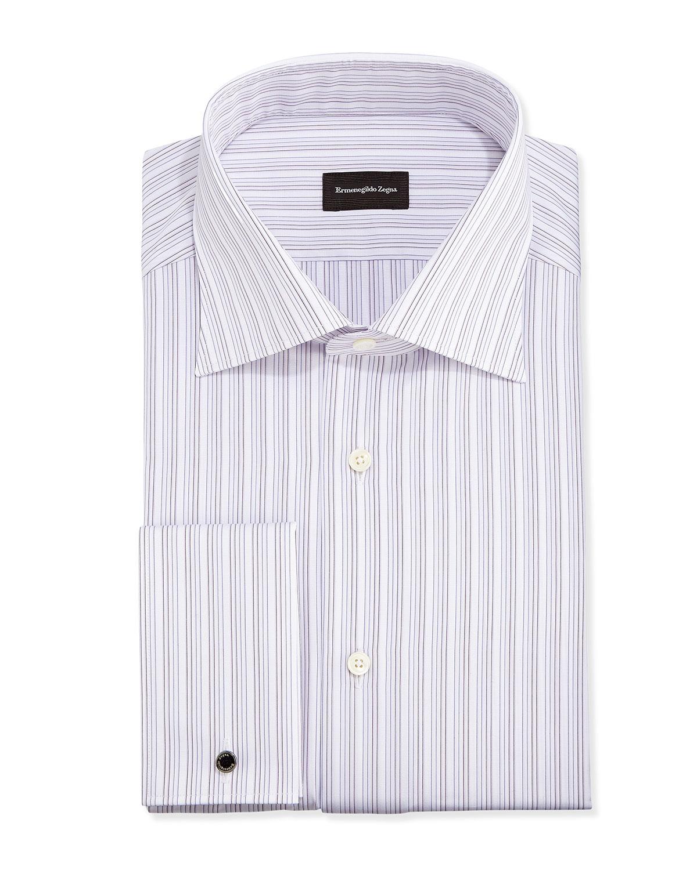 Ermenegildo zegna french cuff fine line stripe dress shirt for Purple french cuff dress shirt