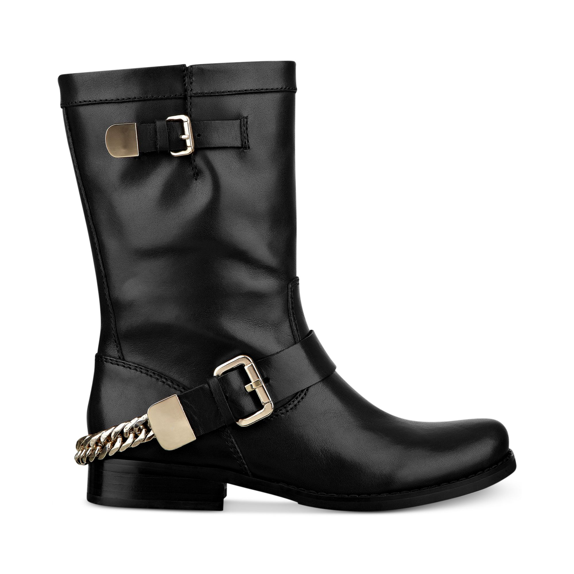 F5929 LADIES MID CALF SPOT ON BUCKLE DETAIL CASUAL BLOCK HEEL ANKLE BOOTS SALE