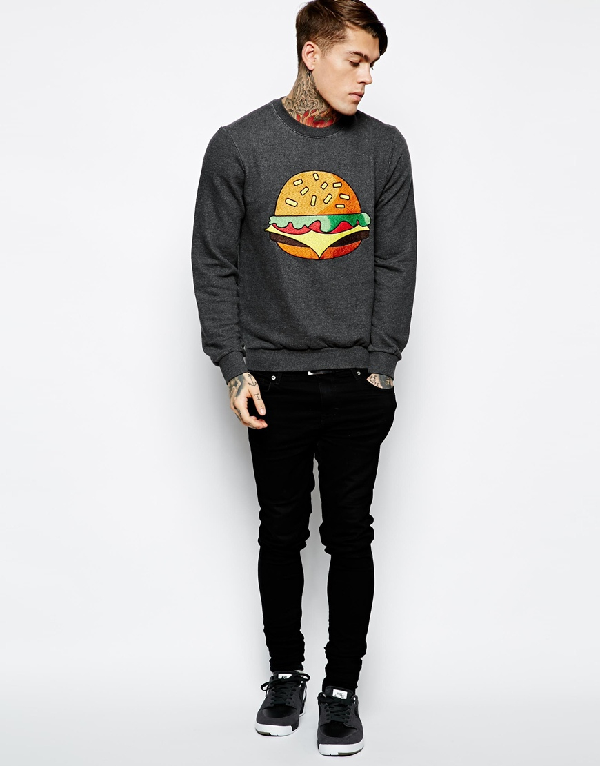 eleven paris sweatshirt with hamburger print in gray for men grey lyst. Black Bedroom Furniture Sets. Home Design Ideas