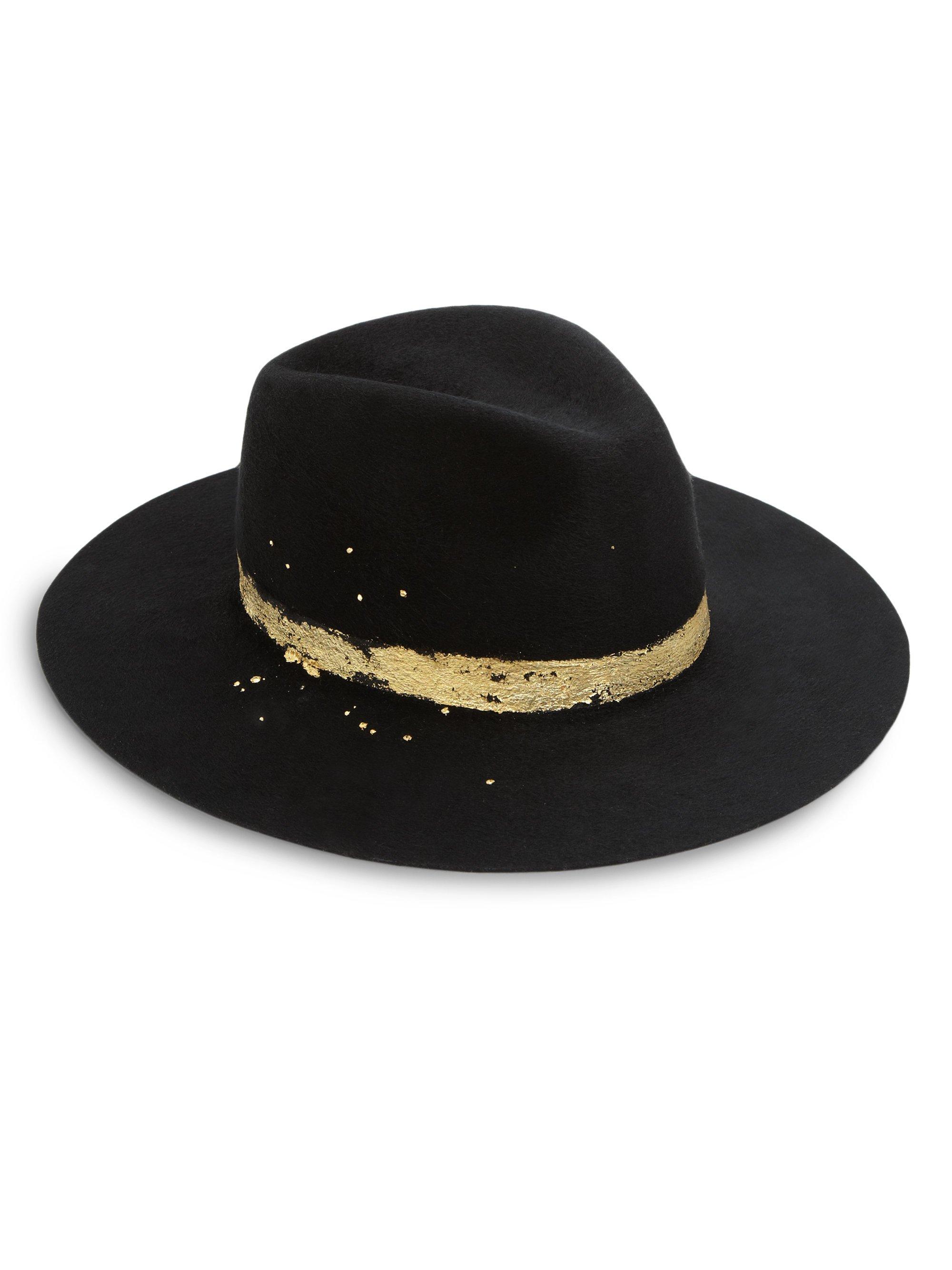 bc1f579f2f116 Eugenia Kim Georgina Metallic Leaf Band Wool Hat in Black - Lyst