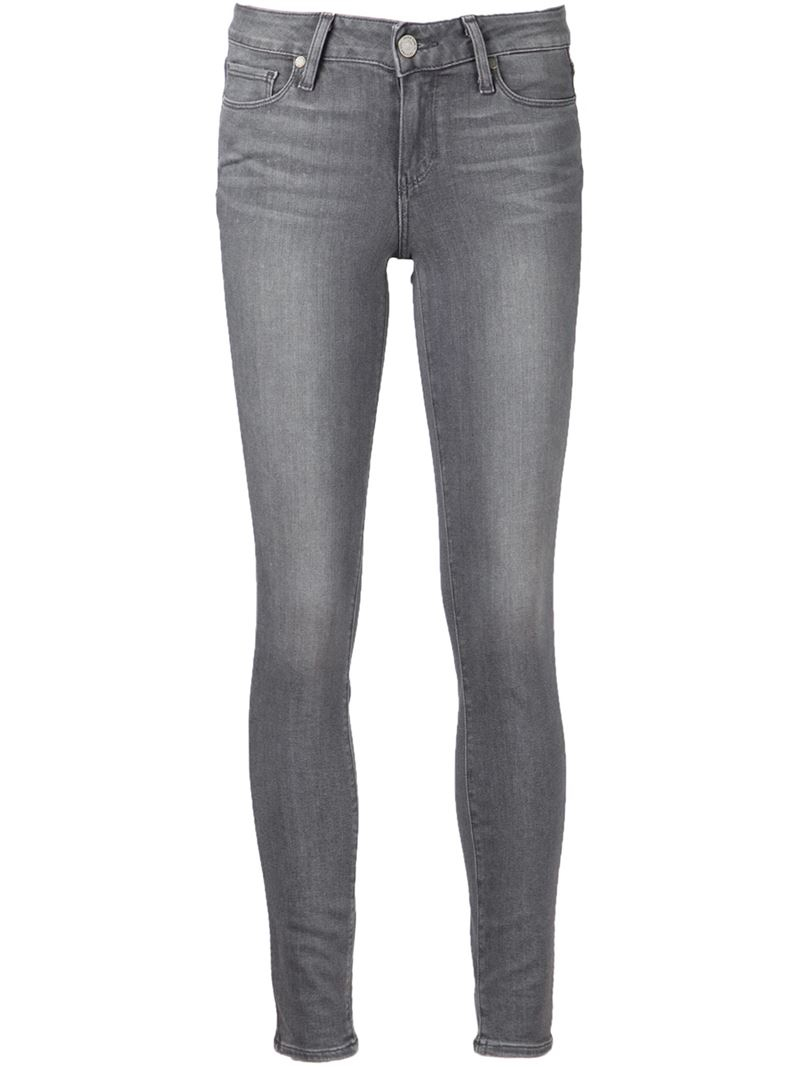 paige 39 verdugo 39 skinny jeans in gray grey lyst. Black Bedroom Furniture Sets. Home Design Ideas