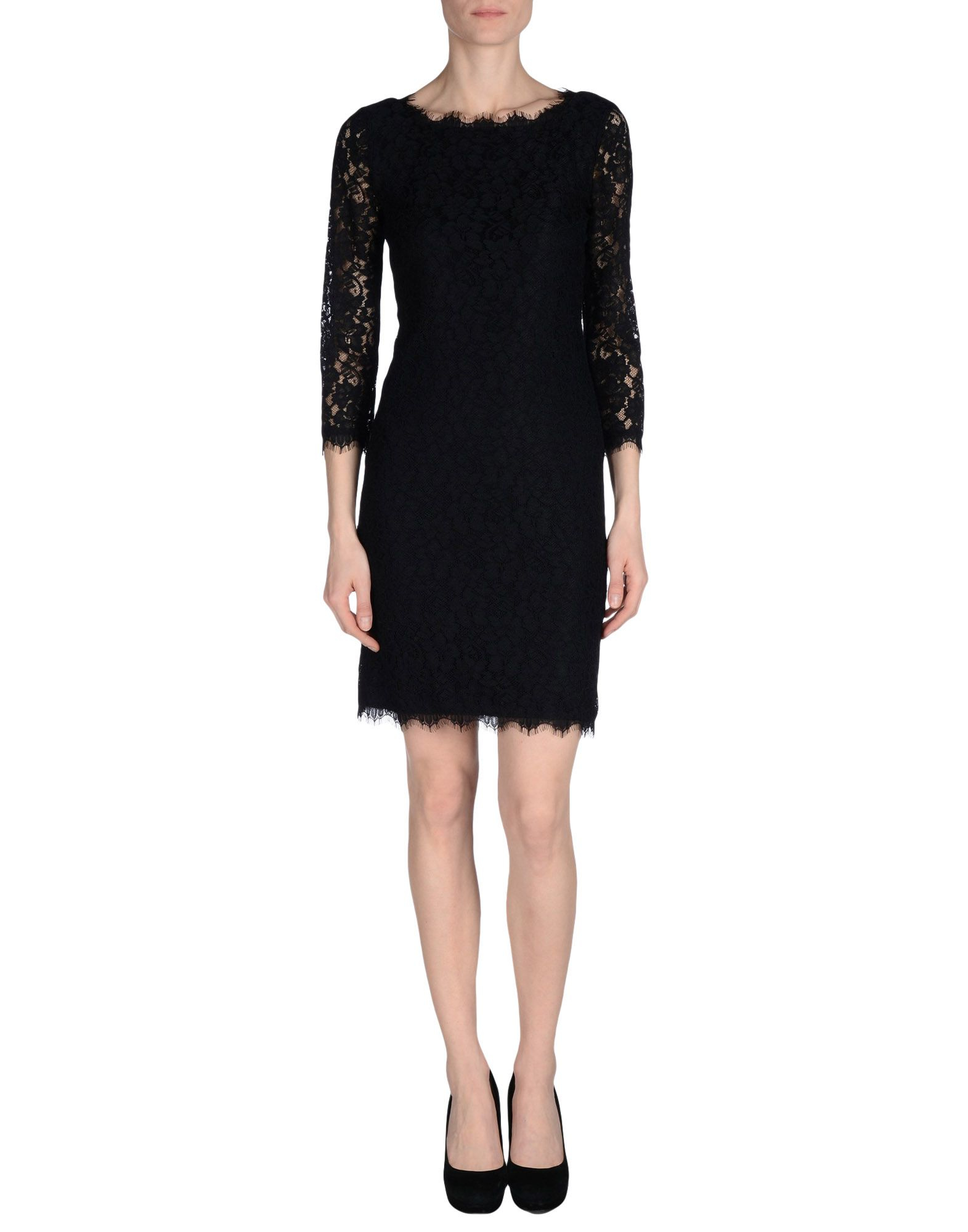 Diane von furstenberg short dress in black lyst for Diane von furstenberg clothes
