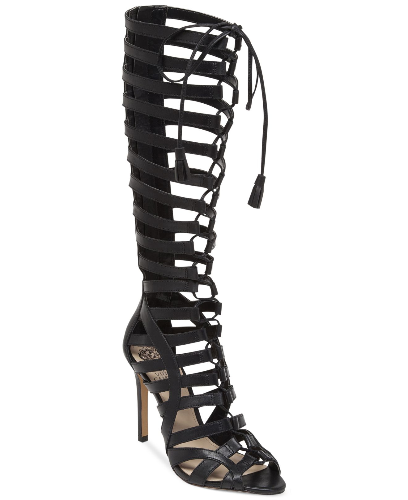 98181fe2057e Lyst - Vince Camuto Olivian Tall Lace-Up Gladiator Sandals in Black