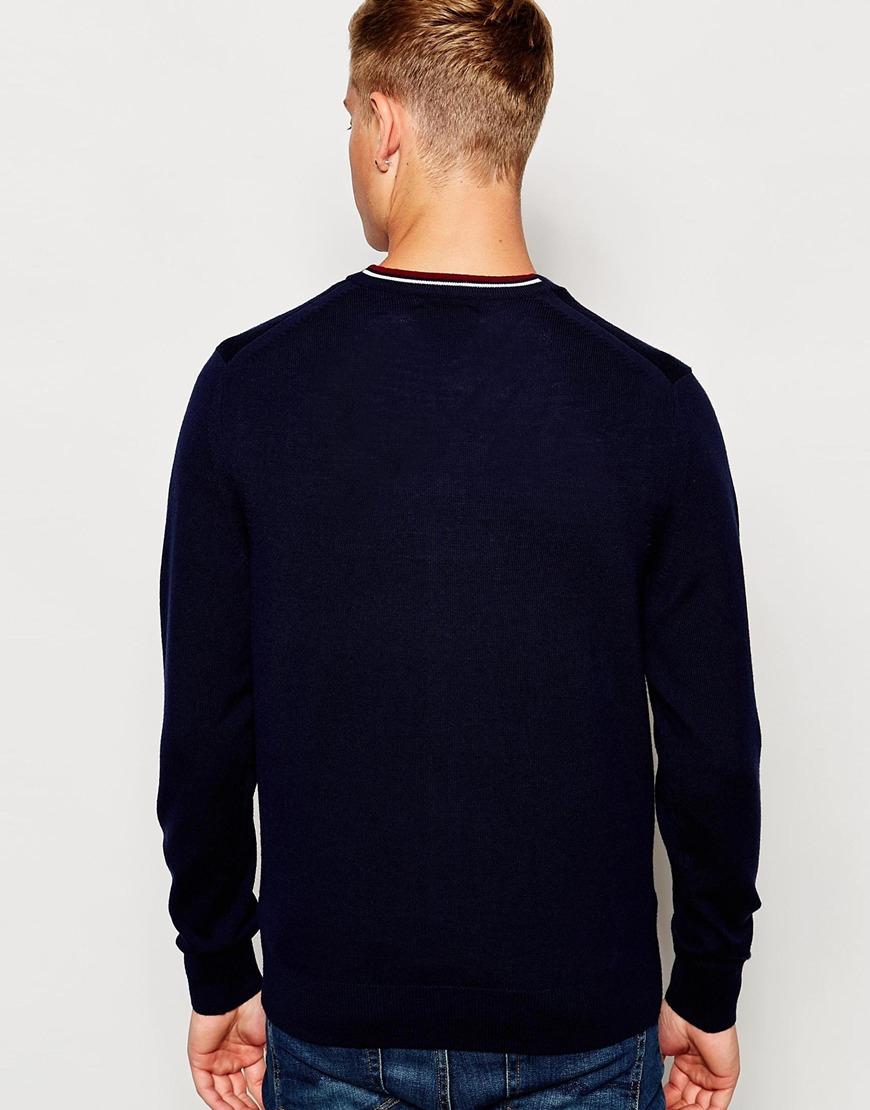 Fred perry Cardigan In Merino Wool Navy in Blue for Men | Lyst
