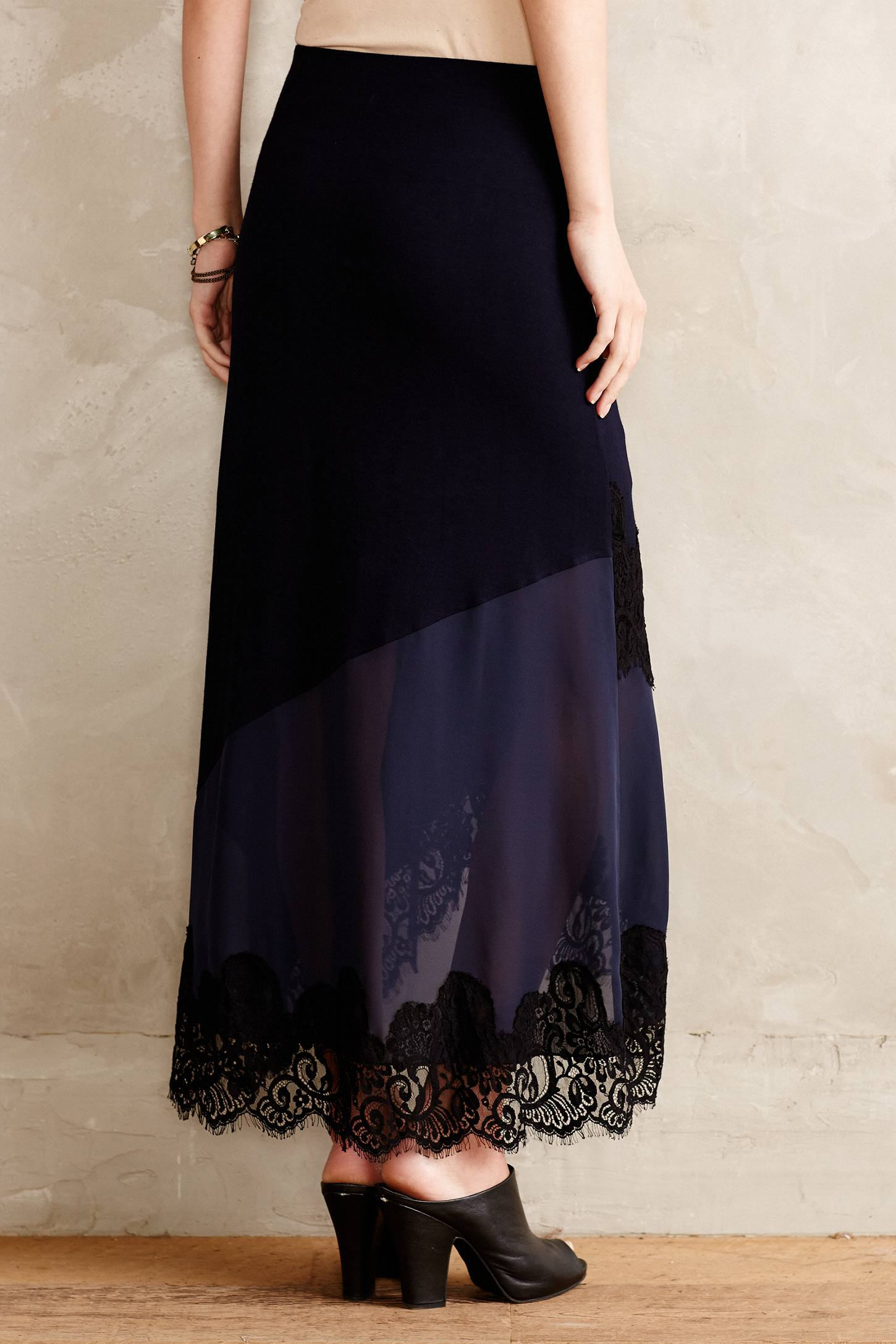 bailey 44 heirloom lace maxi skirt in blue lyst