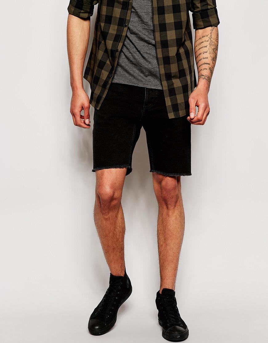 Jack & jones Acid Wash Cut Off Denim Shorts in Black for Men | Lyst